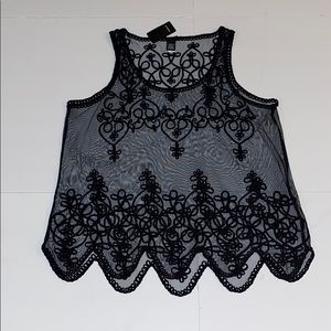 Black, embroidered mesh tank
